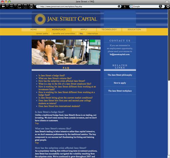 Jane Street Capital FAQ page   Gavula Design