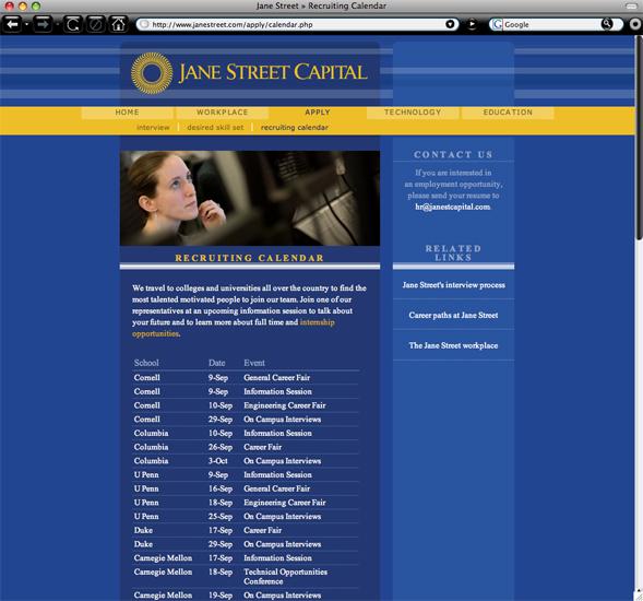 Jane Street Capital calendar page branding