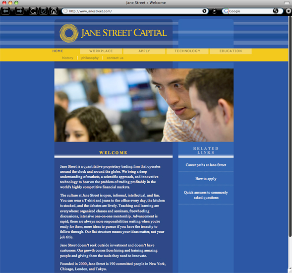 Jane Street Capital home page branding