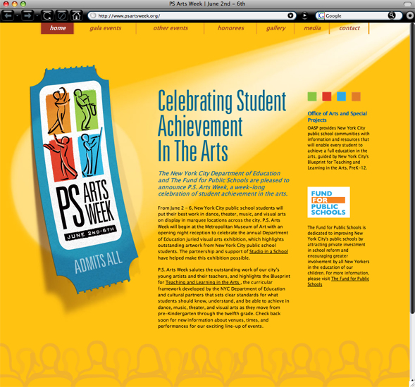 PS Arts Week home page branding