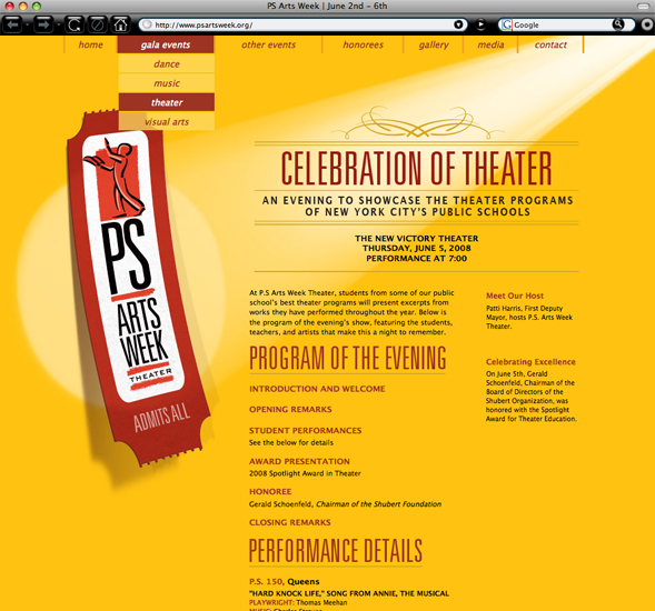 PS Ars Week theater gala page branding