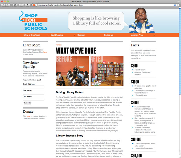 Shop for Public Schools What We've Done Page