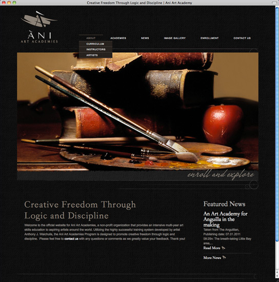 Ani Art Academies site home page