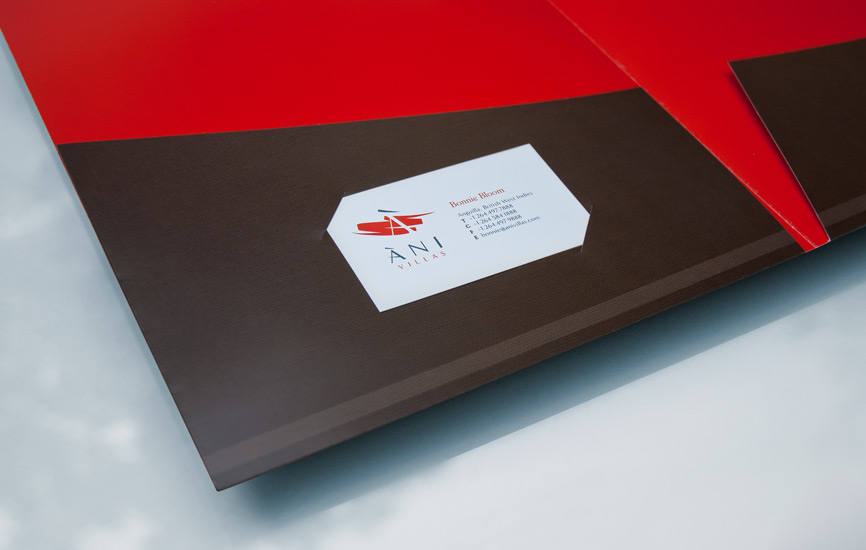 Ani Villas folder pocket with business card slot.