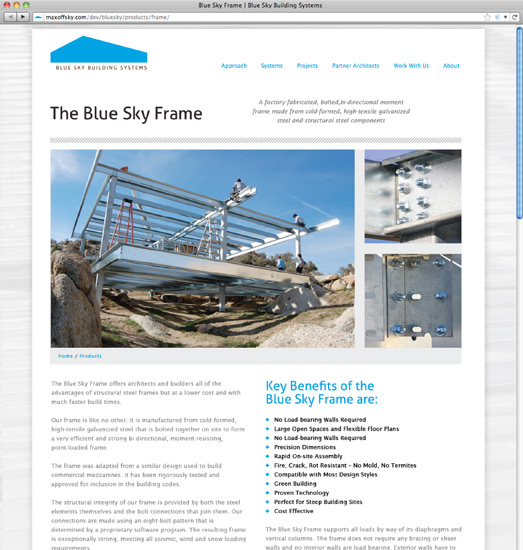 Blue Sky Design Site Frame Page
