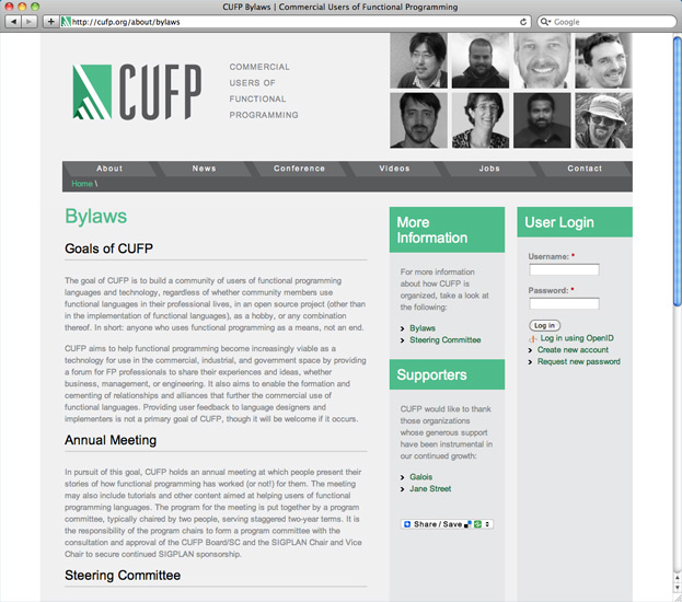 CUFP bylaws page with user login.