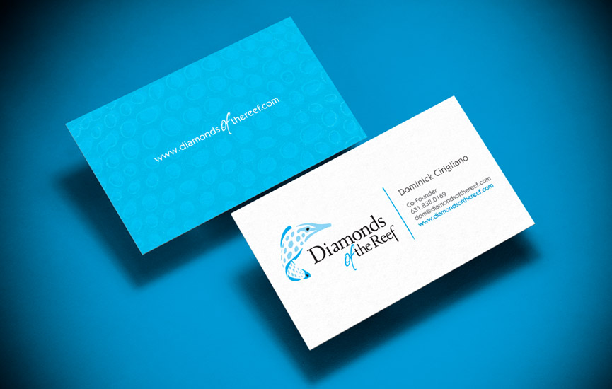 Two sided, full bleed business cards expand on the color, graphic and typographi