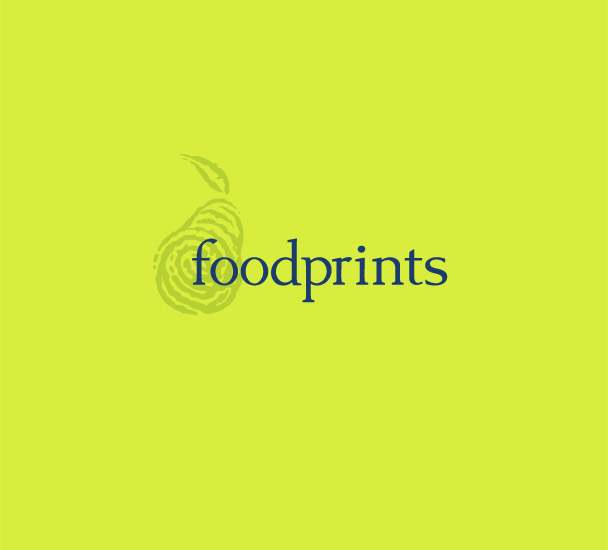 Foodprints brand identity with fingerprint icon stressing an individualized appr