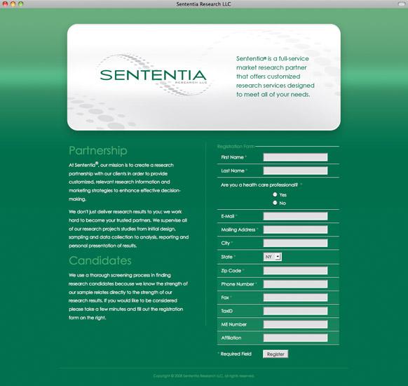Sententia Research Landing Page