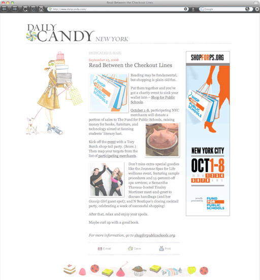 New York Daily Candy featuring Shop Week skyscraper banners.