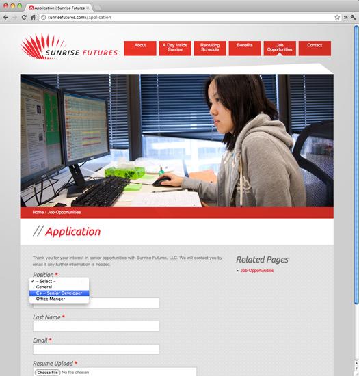 Sunrise Futures Site Application