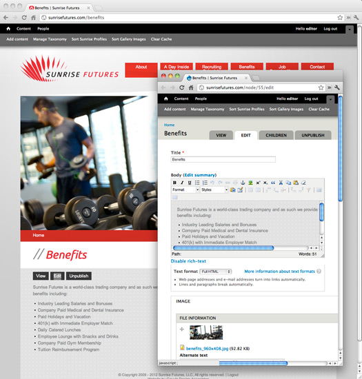 Sunrise Futures Site Drupal CMS