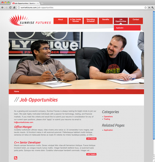 Sunrise Futures Site Job Opportunities Page